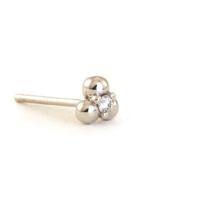 Three Ball Earring with Diamond - 14K White Gold