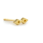 Double Diamond Earring - 14K Yellow Gold