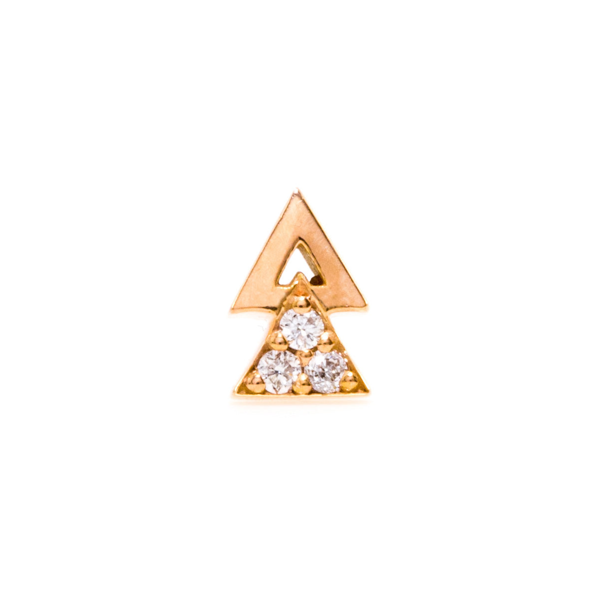 Double Triangle Earring with Diamonds - 14K Rose Gold