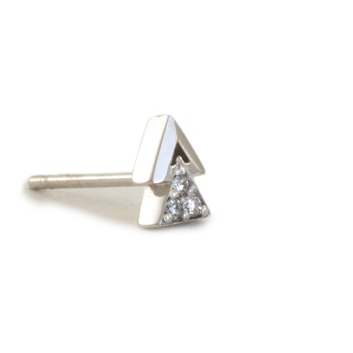 Double Triangle Earrings with Diamonds - 14K White Gold