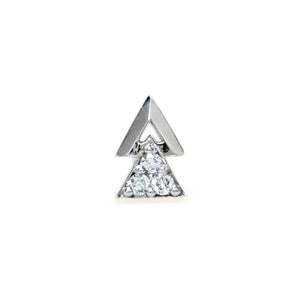 Double Triangle Earring with Diamonds - 14K White Gold