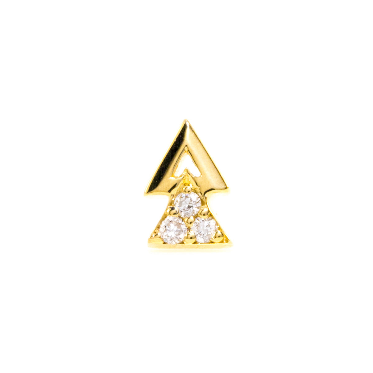 Double Triangle Earrings with Diamond - 14K Yellow Gold