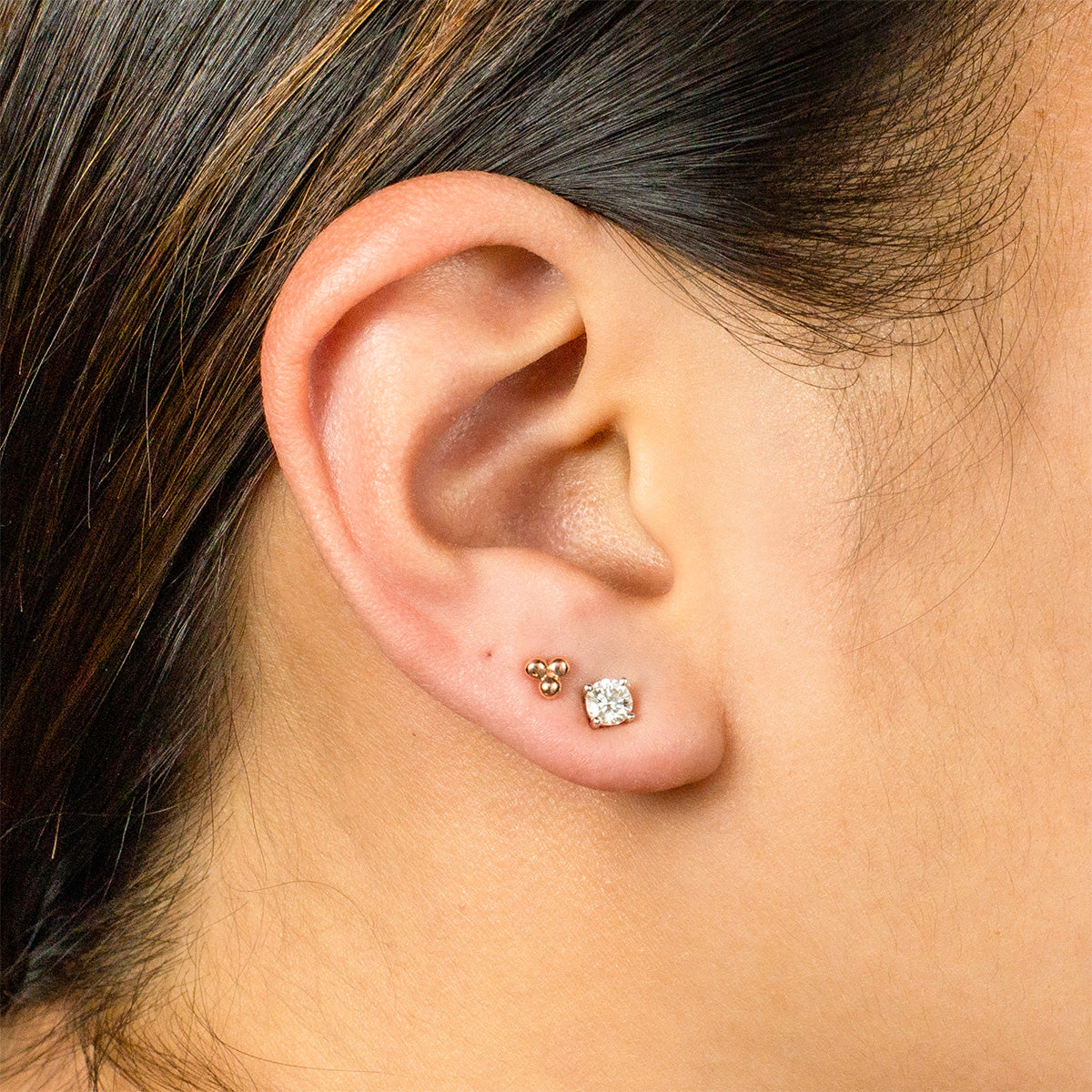 Three Ball Earring - 14K Rose Gold