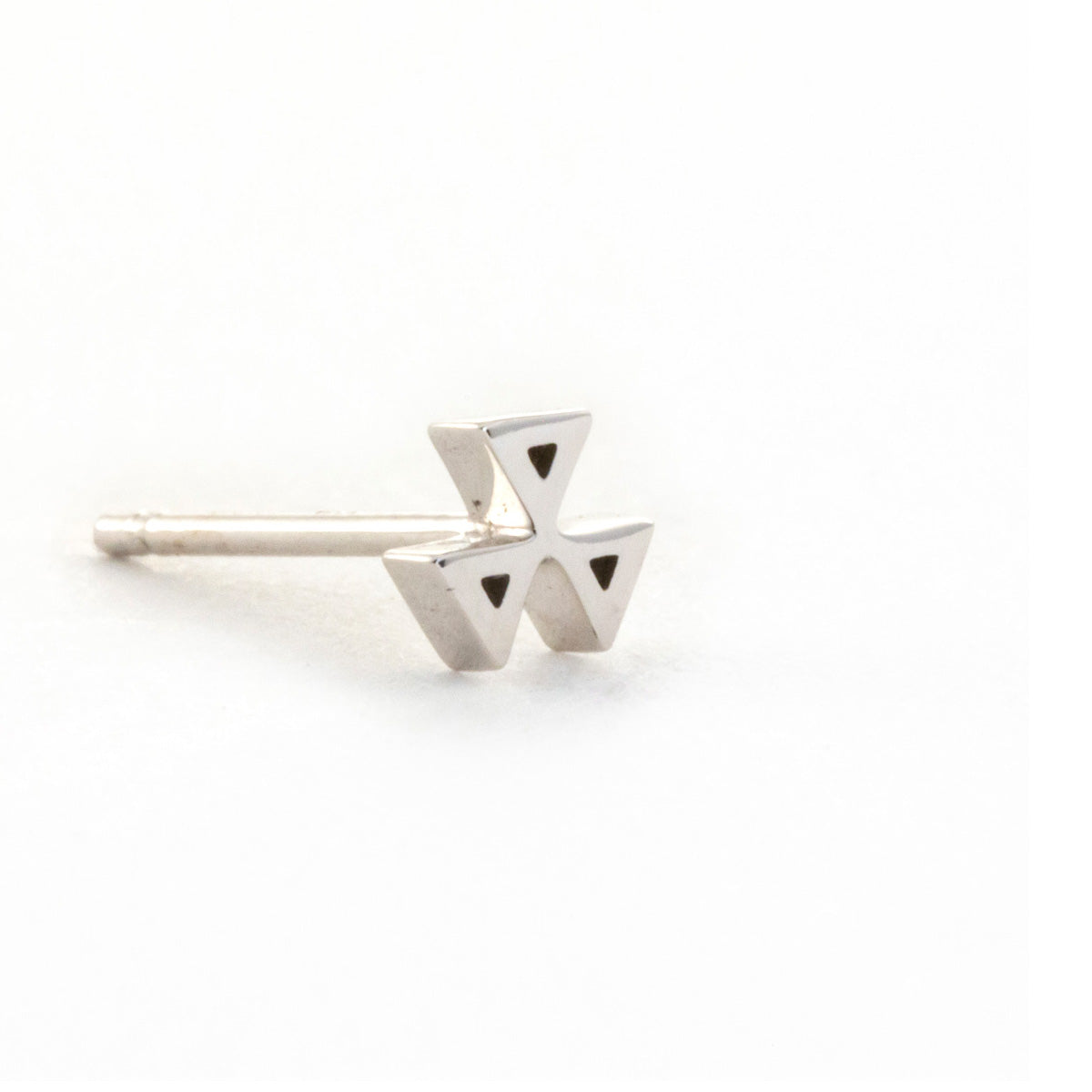 Three Triangle Earring - 14K White Gold