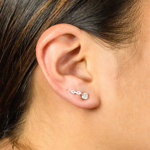 Double Diamond Earring - 14K White Gold