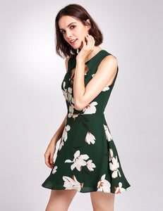 Floral Print Short Fit and Flare Dress