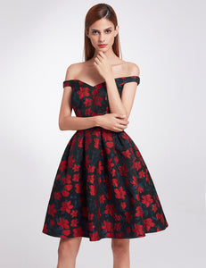 Retro Off Shoulder Fit and Flare Party Dress