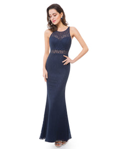 Lace Illusion Long Evening Gown