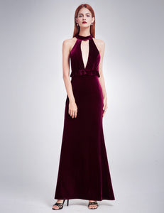 Sexy High Collar Velvet Evening Gown