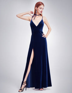 Velvet Evening Dress with Thigh High Slit