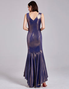 Metallic V Neck High Low Evening Dress