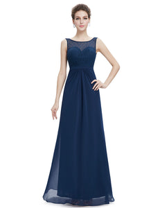 Sleeveless Long Evening Dress with Lace Bodice