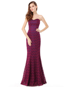 Floor Length Strapless Fitted Evening Gown with Corset Back
