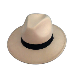 Wide Brim Felt Wool Fedora Hat