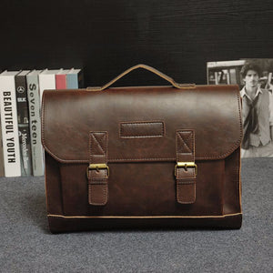 Casual Mens Leather Briefcase Messenger Bag