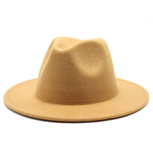 White Wide Brim Fedora Hat Unisex