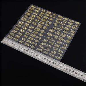 Gold 3D Nail Art Stickers Decals