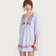 Embroidered Blue Striped Front Lantern V Neck Quarter Length Bohemian (Boho) Dress