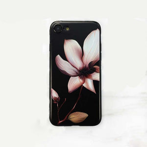 3D White Flower Paint Phone Case For iPhone X