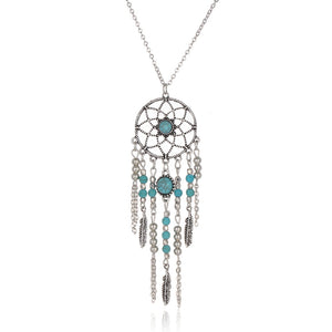 Indian Style Collar Blue Stone Tassel Necklace