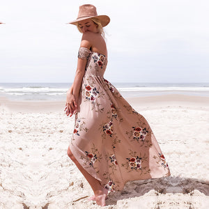 Off Shoulder Floral Printed Long Maxi Summer Bohemian (Boho) Dress