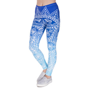 Mandala Ombre Blue Slim High Waist Leggings