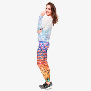 Triangle Glass 3D High Waist Slim Fit Leggings