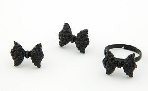 Cute Black Rhinestone Bow Ring