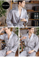 Luxury Silk Satin Print Mens Robe