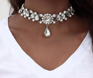 Water Drop Crystal Beads Choker Necklace