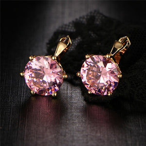 Vintage Punk Crystal Flower Stud Women's Earrings