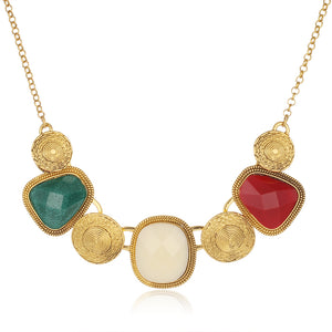 Vintage Multicolor Geometric Choker Necklace