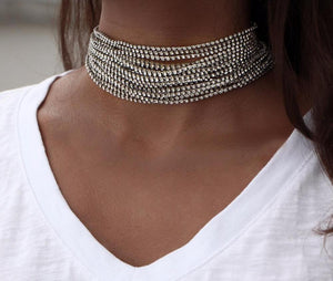 Multi Crystal Choker Necklace For Women