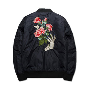 Flower Rose Embroidery Cotton Padded Bomber Jacket