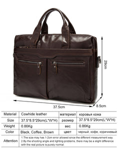 Genuine Cowhide Leather Men Laptop Messenger Bag