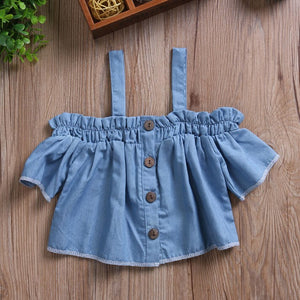 Denim Off the Shoulder Casual Tops for Kids Girls