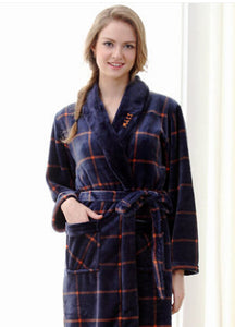 Autumn Thick Flannel Coral Fleece Robe