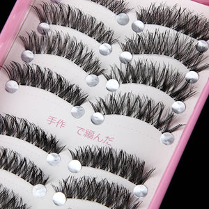 Handmade Natural Black Crisscross Thick Curl Eyelashes