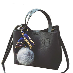 Fur Ball Leather Two Pieces Shoulder Women's Bag
