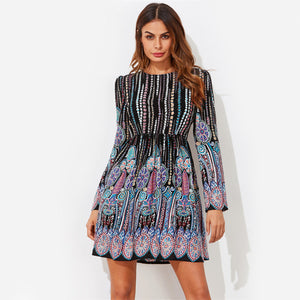 Multicolor Tribal Printed Casual Long Sleeve Bohemian (Boho) Dress