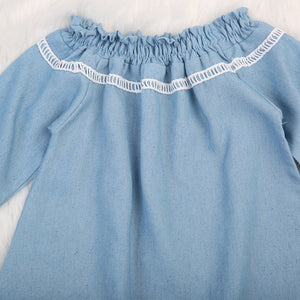 Off Shoulder Denim Tops for Kids Girls