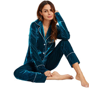 Blue Long Sleeve Notch Collar Pajama Set