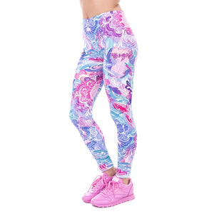 Purple Flowers Slim Fit High Waist Leggings