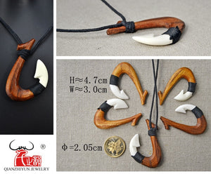 Carved Ox Bone & Koa Wood Pendant Necklace