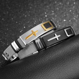 Fashion Cross Silver & Black Men Bracelet