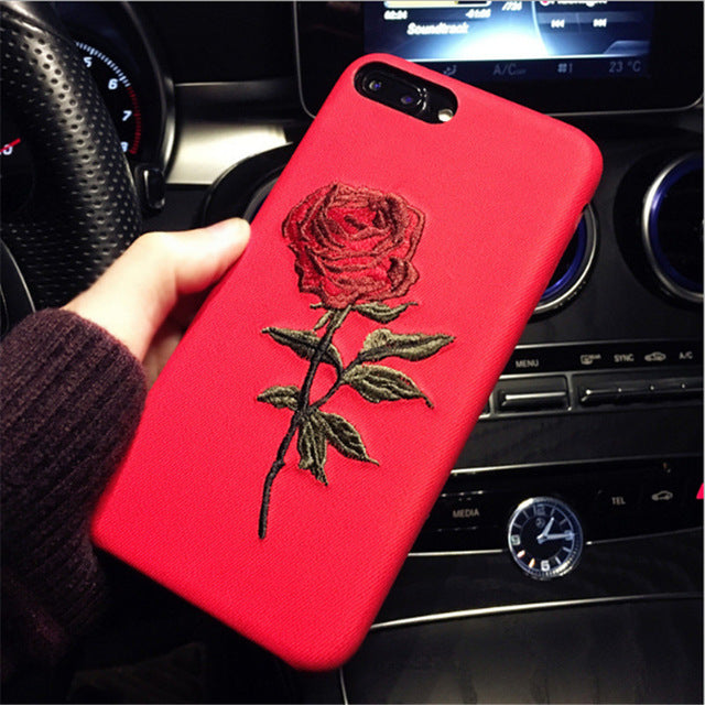Embroidery Rose Case For Iphone 8 8 Plus Peach Mango