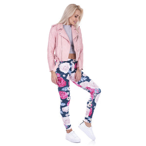 Wild Roses Slim Fit High Waist Leggings