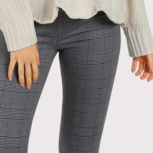 Grey Elasticized Plaid High Waist Casual Women Pants