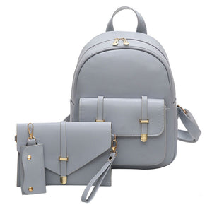 3pcs Leather Backpack