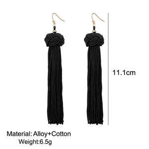 Retro Braided Long Tassel Cotton Drop Earrings For Women